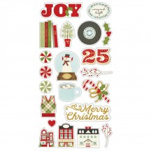 Simple Stories Classic Christmas Self Adhesive Chipboard Shape Stickers 7328