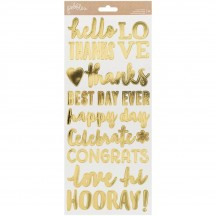 "Pebbles Spring Fling 6""x12"" Gold Foil Phrase Stickers - 2 sheets 733117"