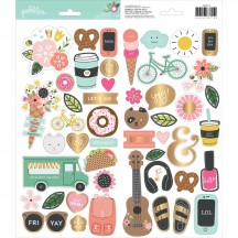 """Pebbles Girl Squad 6""""x12"""" Accent Stickers - 2 sheets 733715"""
