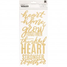 Pebbles Jen Hadfield Heart Of Home Gold Glitter Phrase Thickers 733758