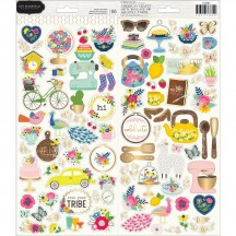 """Pebbles Jen Hadfield My Bright Life 6""""x12"""" Accent Stickers 2 sheets 733882"""
