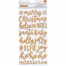 Pebbles Cozy & Bright Printed Chipboard Christmas Word Thickers 733931