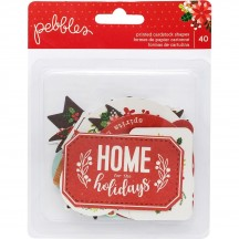 Pebbles Cozy & Bright Phrase Ephemera Die-Cut Cardstock Christmas Shapes 733933