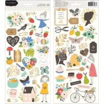 """Pebbles Jen Hadfield Along The Way 6""""x12"""" Accent Stickers 2 sheets 733967"""
