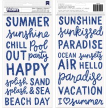 Pebbles Oh Summertime Splash Blue Glitter Foam Phrase Thickers 734091