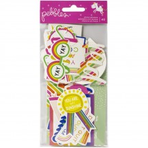 Pebbles Live Life Happy Phrase Ephemera Die-Cut Cardstock Shapes 736924