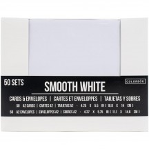 "American Crafts Colorbok Smooth White US A2 Card Blanks & Envelopes (4.375"" x 5.75"") 50 Pack"