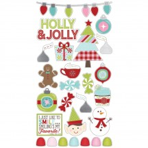 Simple Stories Mistletoe Kisses Self Adhesive Christmas Chipboard Shape Stickers 7428