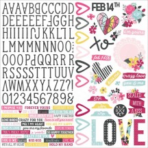 "Simple Stories Love & Adore 12""x12"" Combo Element & Alpha Cardstock Stickers 7601"