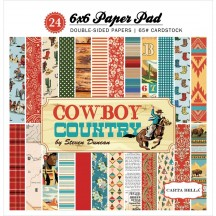 "Carta Bella Cowboy Country 6""x6"" Double-Sided Paper Pad CBCC77015"
