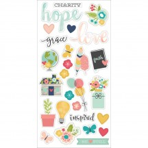 Simple Stories Faith Self Adhesive Chipboard Shape Stickers 7715