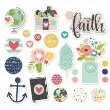 Simple Stories Faith Glazed Self-adhesive Brads 7722