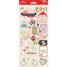 "Pebbles Forever My Always 6""x12"" Valentine Accent Stickers 2 sheets 733633"