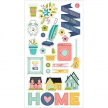 Simple Stories Domestic Bliss Self Adhesive Chipboard Shape Stickers 7814