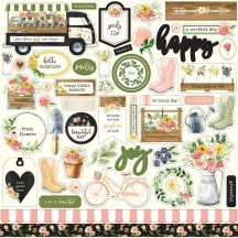 "Carta Bella Spring Market 12""x12"" Die-cut Cardstock Element Stickers CBSM80014"