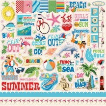 "Carta Bella Summer Splash 12""x12"" Die-cut Cardstock Element Stickers CBSPL83014"