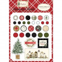 Carta Bella Christmas Decorative Brads & Chipboard Pieces CH89020