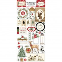 Carta Bella Christmas Self Adhesive Chipboard Accent Stickers CH89021