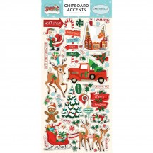 Carta Bella Santa's Workshop Self Adhesive Chipboard Accent Christmas Stickers SW90021
