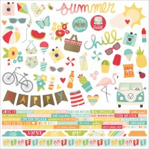 "Simple Stories Summer Days 12""x12"" Combo Element & Word Cardstock Stickers 9101"