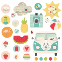 Simple Stories Summer Days Glazed Self-adhesive Brads 9116