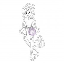 Prima Marketing Skelly Julie Nutting Halloween Mixed Media Doll Rubber Cling Stamp 911621