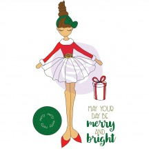 Prima Marketing Merry Julie Nutting Mixed Media Christmas Doll Rubber Cling Stamp 912376