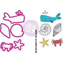 Prima Julie Nutting Mermaid Kisses Sea Life Doll Metal Die & Cling Stamp Set 912604