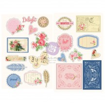 Prima Julie Nutting Frayed Denim Self Adhesive Chipboard Accent Shape Stickers 913304