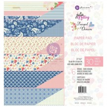"Prima Julie Nutting Frayed Denim 12""x12"" Double-Sided Paper Pad 913328"