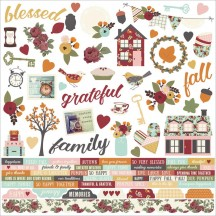 "Simple Stories Vintage Blessings 12""x12"" Combo Element & Word Cardstock Stickers 9222"