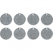 Tim Holtz Idea-ology Christmas Metal Quote Tokens TH93751
