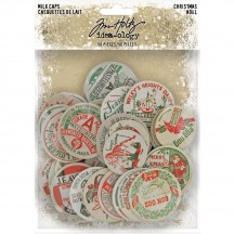 Tim Holtz Idea-ology Christmas Chipboard Milk Caps TH94104