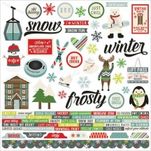 "Simple Stories Sub Zero 12""x12"" Christmas Combo Element & Word Cardstock Stickers 9421"