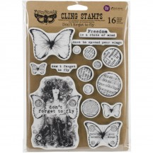 Prima Marketing Finnabair Don't Forget to Fly Mixed Media Cling Rubber Stamp Set 962005