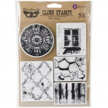 Prima Marketing Finnabair Old Town Mixed Media Cling Rubber Stamp Set 962029
