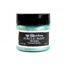 Prima Finnabair Art Alchemy Sparks Mermaid Sparkle Aqua Acrylic Paint 50ml 964085