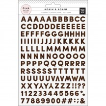 Pink Paislee Again & Again Woodgrain Small Alpha Stickers 310907