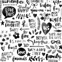 """American Crafts Amy Tangerine Better Together Black & White Transparency 12""""x12"""" Specialty Paper 373984"""