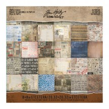 "Tim Holtz Idea-ology Etcetera Collage 8""x8"" Paper Stash - TH93551"