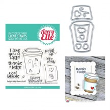 Avery Elle Cool Beans Coffee Cup Clear Stamps & Cutting Die Set