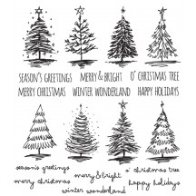 Tim Holtz Scribbly Christmas Cling Mount Sets Collection from Stampers Anonymous - CMS249