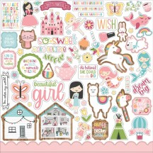"Echo Park All Girl 12""x12"" Element Shape Stickers ALG206014"