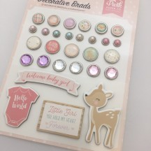 Echo Park Hello Baby It's A Girl Decorative Brads & Chipboard Pieces BG171020