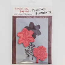 Wendy Vecchi Build-a-Blossom Stamp-it Stencil-it Stencil & Rubber Cling Stamp Set WVSTST006