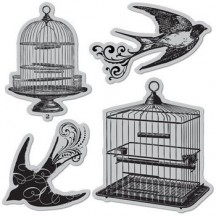 Hot Fudge Studio Rubber Cling Stamps by Hampton Art - Bird Cages - IC0053M