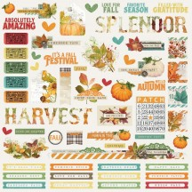 "Simple Stories Simple Vintage Autumn Splendor 12""x12"" Combo Element & Word Stickers 11201"