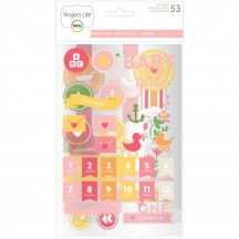 Becky Higgins Project Life Baby Girl Chipboard Sticker Embellishments 380526