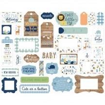 Echo Park Baby Boy Frames & Tags Ephemera Die Cut Cardstock Pieces BAB203025