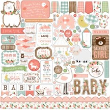 "Echo Park Baby Girl 12""x12"" Element Shape Stickers BAG202014"